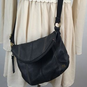 The Sak Black Leather Deena Flap Crossbody Bag